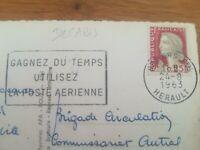 Timbre sur carte MARIANNE DECARIS CACHET LA POSTE AERIENNE 1963