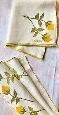 Vintage Vera Neuman Linen Napkins 4 Mix & Match Yellow Rose Vera Textiles