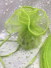 10 PRETTY LIME GREEN ROUND ORGANZA GIFT FAVOUR BAGS 26cm Diameter