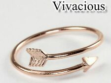 Rose Gold Arrow Heart Midi Ring Above Knuckle Adjustable Wrap Polished