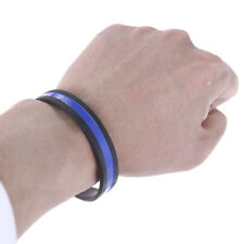 Thin Blue Line Wristband Black Silicone Bracelet Unisex Sport Vitality Special