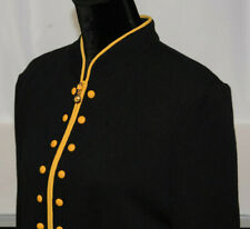 St. John Sz 12 Black Knit Zip Up Santana Blazer Yellow Trim Studs High Neck USA