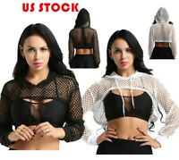 US Women Sexy Mesh Sheer Crop Tops Long Sleeve Shirts Transparent Blouse Hoodie
