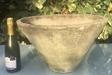 More details for mid century conical concrete planter, french beton brut, willy guhl style 1960s