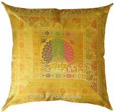 "24"" Peacock Gold Cushion Cover Brocade Pillow Toss Floor Sofa Throw INDIAN Decor"