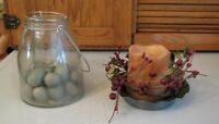 CANDLES Metal Holder & Glass Jar w Bird Eggs Primitive Decor