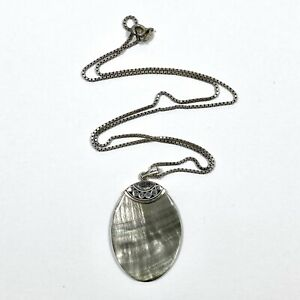 925 Sterling Silver Shell Pendant With 925 Box Link Necklace 42cm