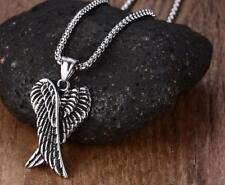 Guardian Angel Wings Necklace Pendant Darkened Stainless Steel - Unisex Gift