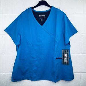 Grey's Anatomy 2XL Scrub Top +Spandex Surplice Princess Blue Tonic NWT O28