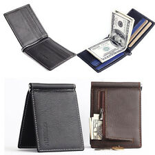Leather Slim Thin Men Money Clip Zip Wallet Credit ID Card Holder Purse Black