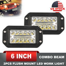 26000LM 6 Inch 2Pc Flush Mounting Combo Beam LED Work Light Bar Off-Road Driving