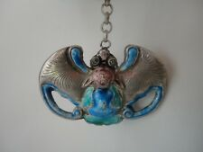 Collected China Old Handmade Pure Silver Bat Bake Cloisonne Bat Flowers Pendant