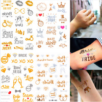 Gold Bride Tribe Flash Temporary Tattoo Sticker Bridal Wedding Party Decor Team