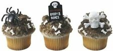 NEW HALLOWEEN GRAVE STONE SKULL AND SPIDER CUPCAKE RINGS (12)