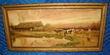 OLD GILT FRAMED TATTY & FADED PAINTING OF CATTLE ETC TOM LLOYD 1906