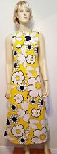 Vintage Tori Richard Honolulu MOD Dress Sz 6 Yellow White Hawaiian Flower Maxi