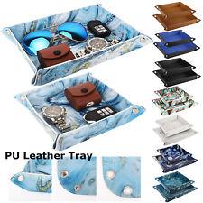 Luxury PU Leather Tray Desk Catchall Storage Plate fr Key Coin Phone Jewelry Box