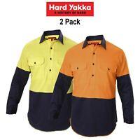 Mens Hard Yakka Shirt Hi-Vis 2 Pack Gusset Long Sleeve Work Safety Cotton Y07984
