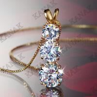 2.50 Ct Diamond Round Cut 14K Yellow Gold Over Three Stone Bar Pendant Necklaces