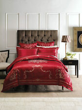 Linen House Classic Collection Boleyn Red Queen Quilt Cover Set Regal Jacquard