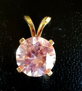 1.7ct Natural VS Light Baby Pink Sapphire 14K Solid Yellow Gold Pendant Necklace