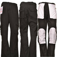 Men's Work Cargo Trousers Multi Pockets lightweight Work Pant Black Knee pockets