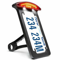 Side Mounting Number License Plate Bracket Holder LED Tail Light For Harley