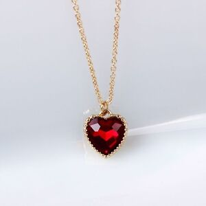 9 k Real Gold Filled  Red Diamond Heart Shape Necklace & Pendant.....