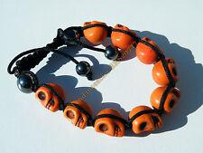 Bracelet Tibetain Shamballa Ajustable 9 Skull Tetes de Mort Orange Yin Yang Zen
