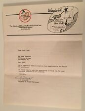 1960 Montreal Alouettes CFL Canadian Football League 4 Page Player Questionnaire