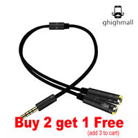 New 3.5mm Audio Male To 2 Headphone Mic Y Female Splitter Cable Cord Adapter