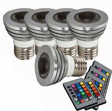 High Quality 5Pcs E27 5W LED Bulb 85~265V RGB Remote Control Energy Saving Light