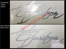 2 HARLEY DAVIDSON Script style Tank decal sticker Chopper SILVER BLACK +COLOURS