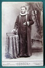 Chicago Clergyman w Ruff Collar & Big Bible orig 1886 cabinet photo