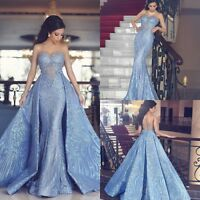Detachable Mermaid Evening Dresses Crystal Luxury Sequin Formal Prom Party Gowns