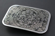 Cinturón de hebilla rectangular Calendario Azteca Maya México Metal Tribal