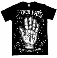 Luna Cult Your Fate T Shirt Gothic Occult Symbols Palmistry Hand Moon