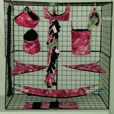 Pink Digital Camo*15 Pc Sugar Glider Cage set * Rat * double layer Fleece
