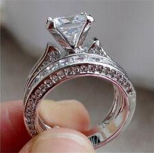 Ring Set Wedding Jewelry Size 7 2Pcs Fashion Silver White Zircon Princess Cut