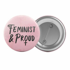 "Feminist and Proud Badge Button Pin 1.25"" 32mm Feminism Slogan"
