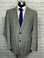 Hugo Boss Super 120s Mens Gray Plaid Wool Suit Jacket Sport Coat 42R