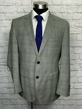 Hugo Boss Super 120s Mens Gray Plaid Wool Suit Jacket Sport Coat 42R