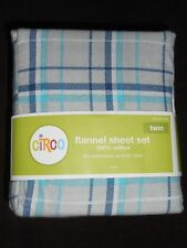 Circo Flannel Sheet Set grey-blues plaid pattern TWIN Size NWT