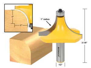 """1"""" Radius Round Over Edge Forming Router Bit - 1/2"""" Shank - Yonico 13169"""