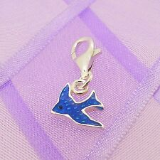 STERLING SILVER BLUEBIRD OF HAPPINESS CLIP ON CHARM