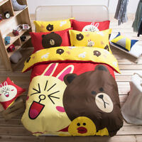Kids Bedding Sets Queen Cartoon 100% Cotton Duvet Quilt Cover Sheet Bedclothes