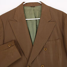 JAY ANTHONY Vtg 60s 70s Brown Striped Dbl Breasted BLAZER COAT SUIT JACKET 40S