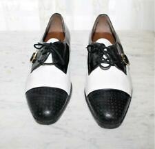 80s does 30s Gangster Black White Leather Spectator Shoes  9.5 Giorgio Brutini