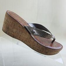 b74ca8c4d Sam Edelman Women s 7.5 M Romy Wedge Cork Sandals Snake Print  H07