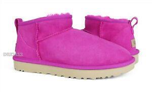 UGG Classic Ultra Mini Rock Rose Fur Boots Womens Size 9 *NIB*